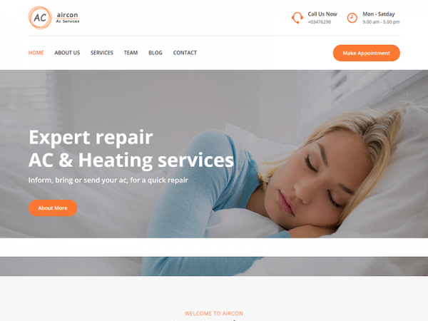Aircon Lite – Air Conditioning Services Bootstrap 4 Template