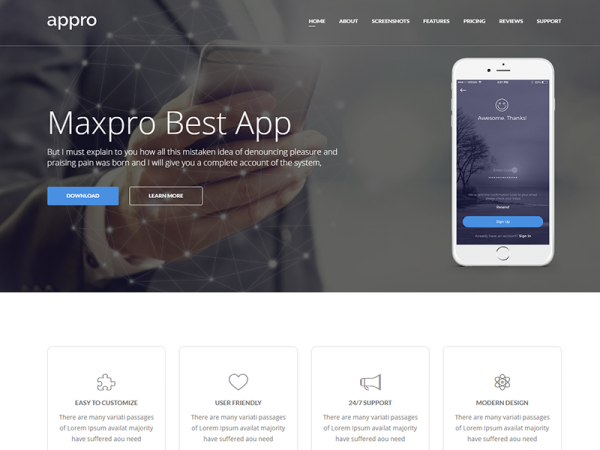 Appro –Free Multipurpose Landing Page Template