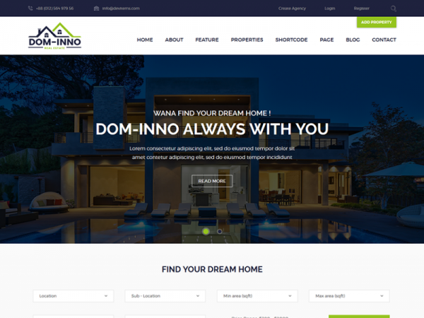 Dominno - Free Real Estate Responsive Template