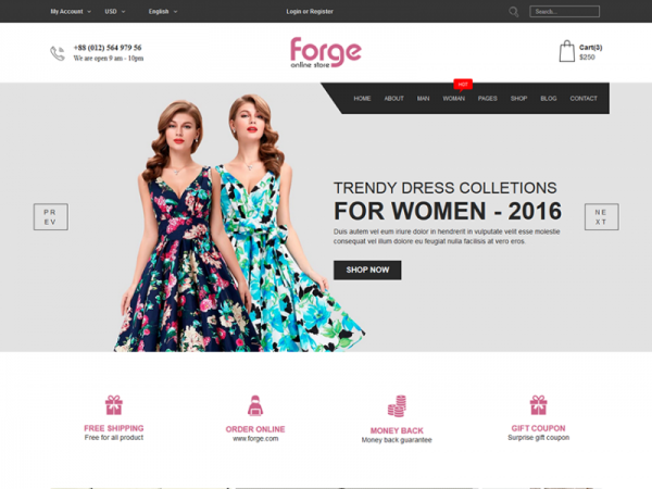 Forge - Free eCommerce Fashion Template