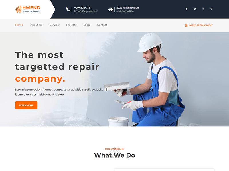Hmend - Free Home Maintenance, Repair Service HTML Template