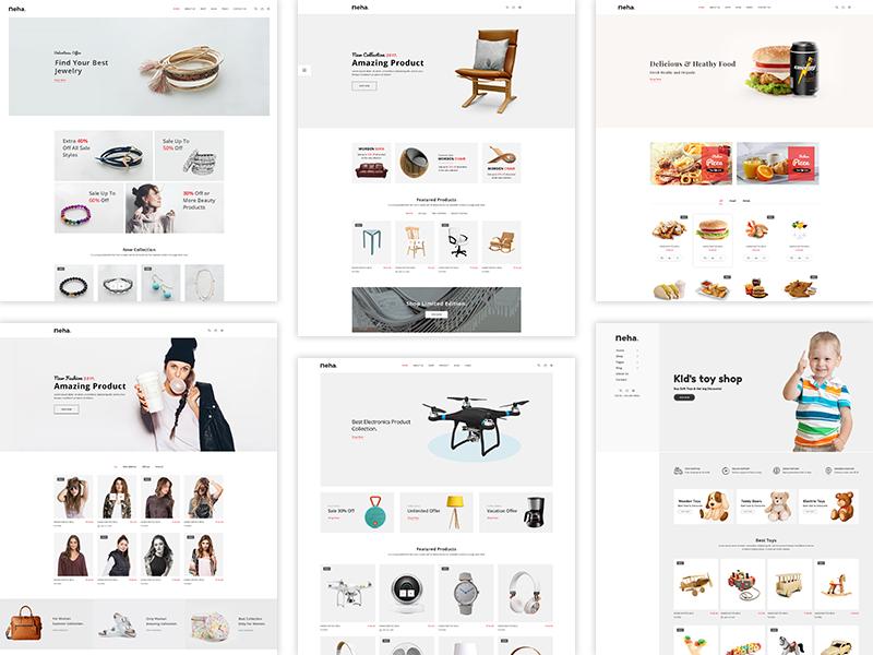 Neha - Free Minimalist eCommerce Bootstrap 4 Template