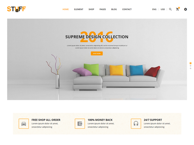Stuff - Free eCommerce Furniture Template