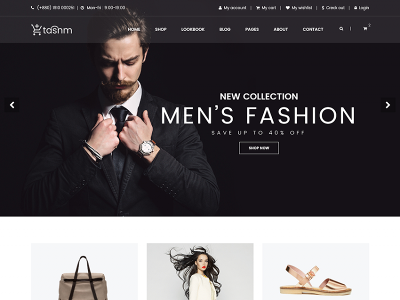Tasnm - free eCommerce bootstrap template