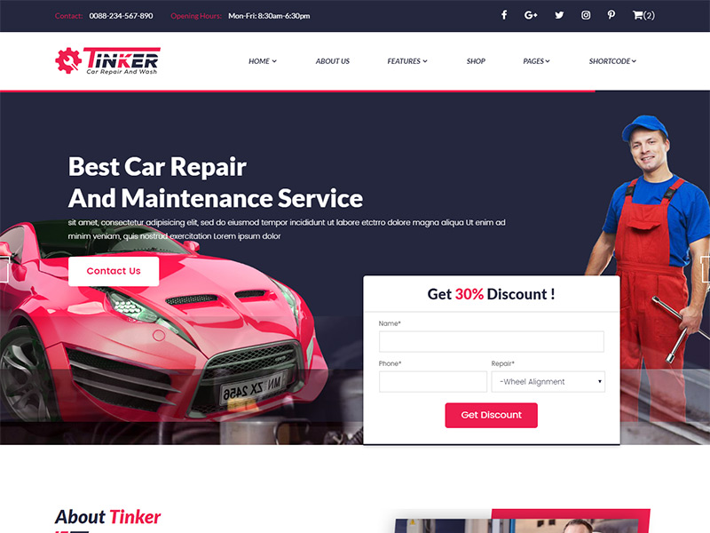 Tinker – Free Car Repair and eCommerce Template
