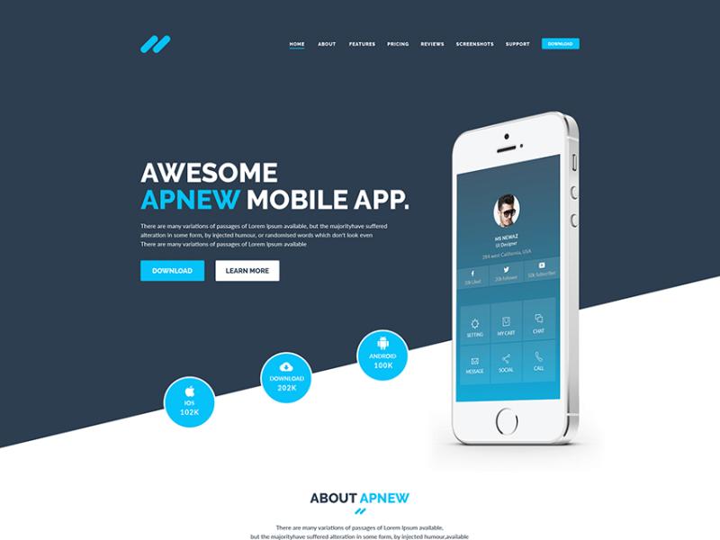 Apnew – Free Multipurpose Landing Page Template