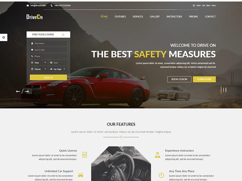 DriveOn – Free Driving School HTML Template