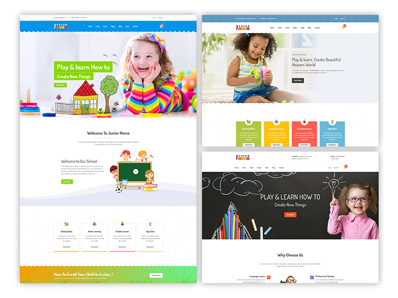 JuniorHome - Free Day Care & Kindergarten School Bootstrap4 Template