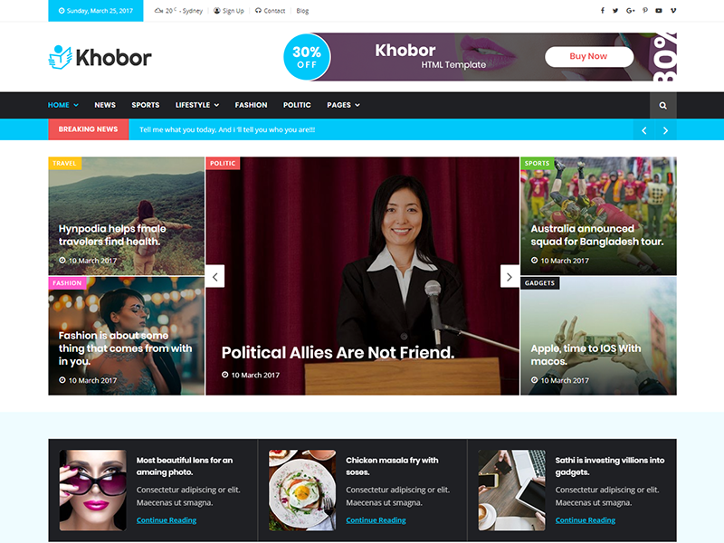 Khobor - Modern Magazine & Newspaper HTML Template