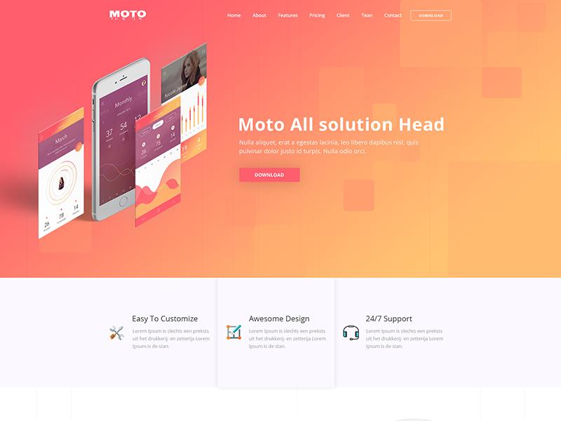 Moto – Free Multipurpose Landing Page Template