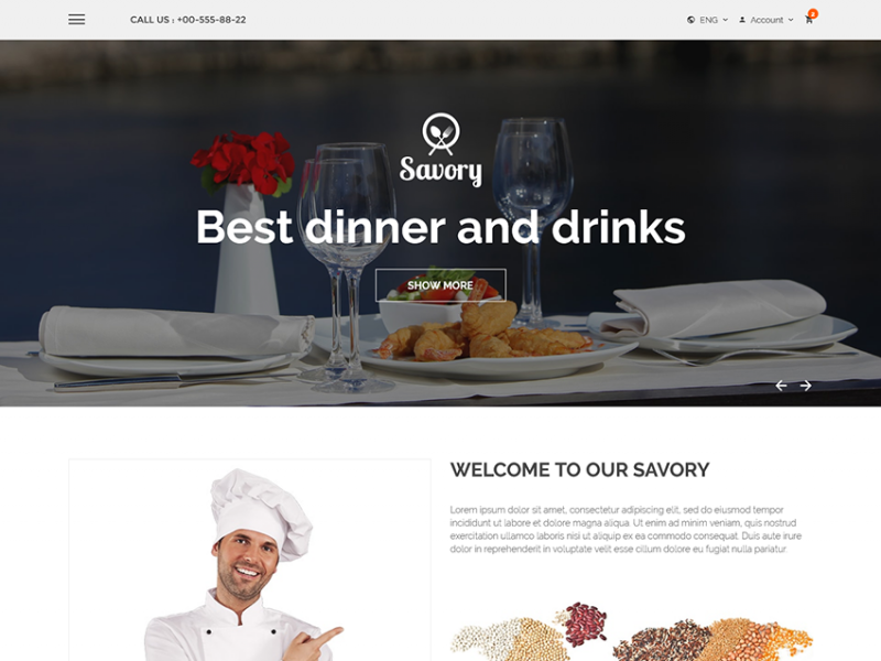 Savory – Free Restaurant Bootstrap Template
