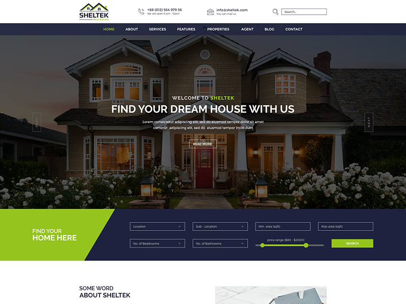 Sheltek Free Real Estate Responsive Template Free Themes Cloud