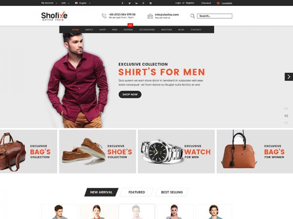 Shofixe - Free eCommerce Fashion Template