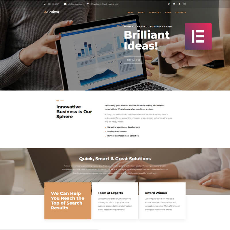 Smixor - Business Multipurpose Modern Elementor WordPress Theme